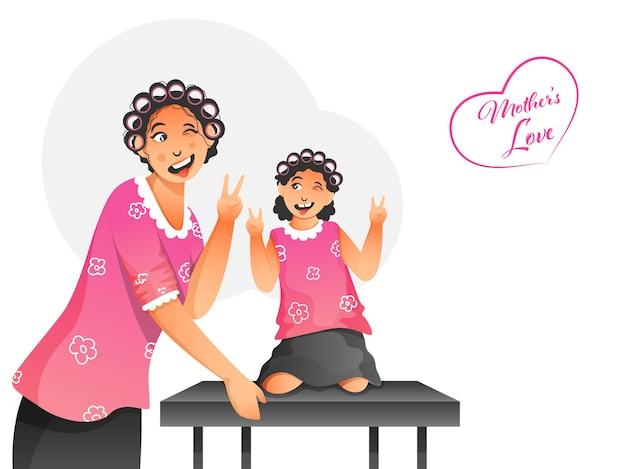 Ilustrações de personagens de uma mãe e uma filha se divertindo juntas