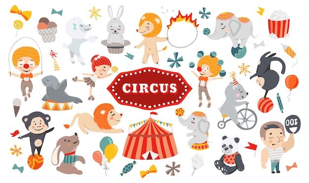Ilustrações de personagens engraçados do circo.