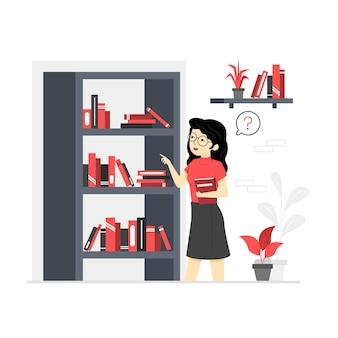 Ilustrações de personagens na biblioteca