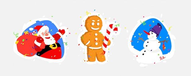 Ilustrações de personagens para o ano novo. papai noel, boneco de neve, pão de gengibre.