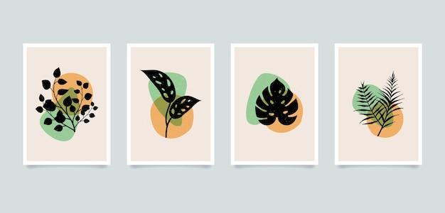 Ilustrações de plantas abstratas minimalistas estéticas modernas. coleção de cartazes de arte de decoração de parede de composição contemporânea.