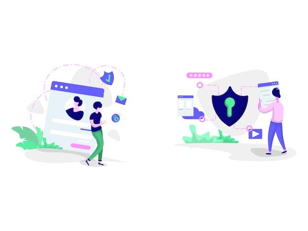Ilustrações de política de privacidade e segurança cibernética