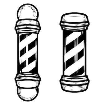 Ilustrações de pólo de barbearia em fundo branco. elementos para cartaz, emblema, sinal, crachá. ilustração