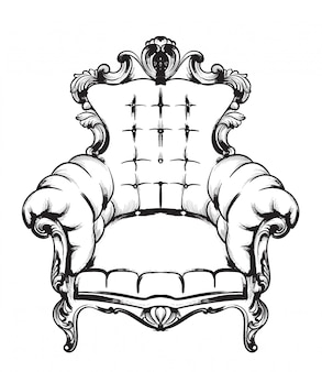 Ilustrações de poltrona barroca