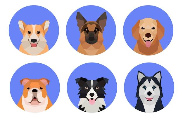 Ilustrações de raças de cães estilo origami de baixo poli