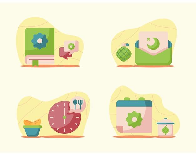 Ilustrações de ramadã em estilo simples e moderno