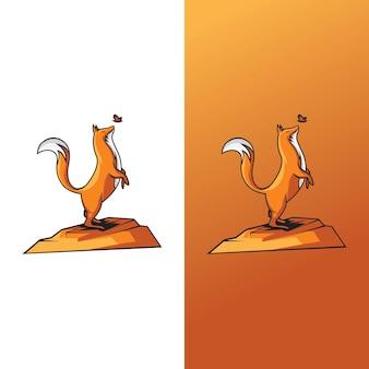Ilustrações de raposas e borboletas