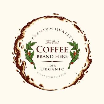 Ilustrações de salpicos premium da etiqueta do café do emblema