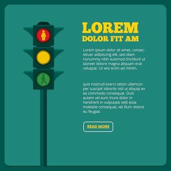 Ilustrações de semáforo e lugar para o seu texto. transporte de tráfego leve, semáforo e semáforo
