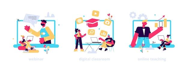 Ilustrações de seminários web educacionais