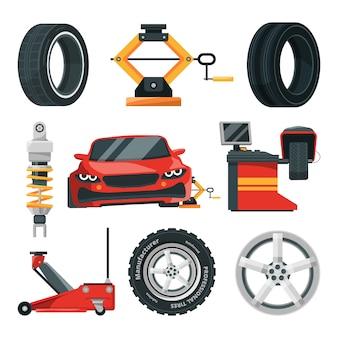 Ilustrações de serviço de pneus