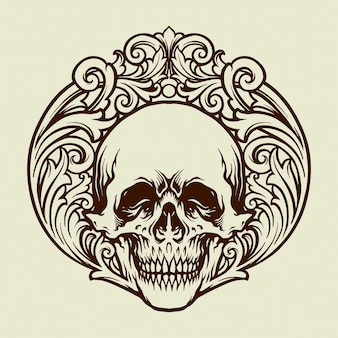 Ilustrações de silhouette skull vintage ornaments