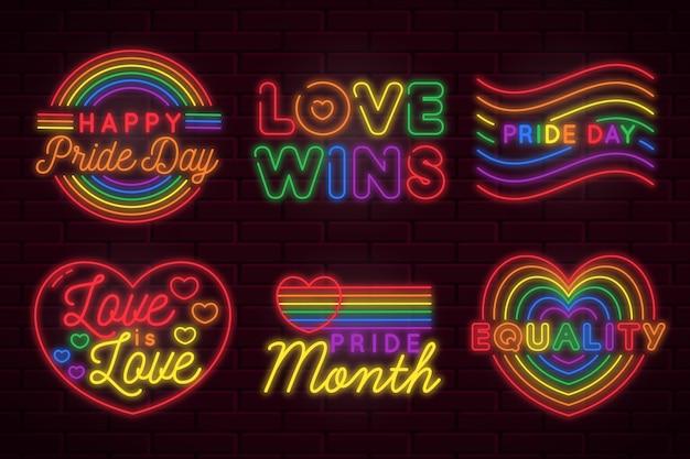 Ilustrações de sinais de néon do dia do orgulho