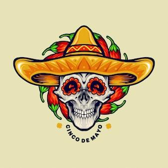 Ilustrações de sombrero crânio mexicano de cinco de mayo