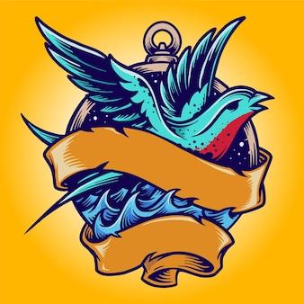 Ilustrações de swallow tailor vintage tattoo vector