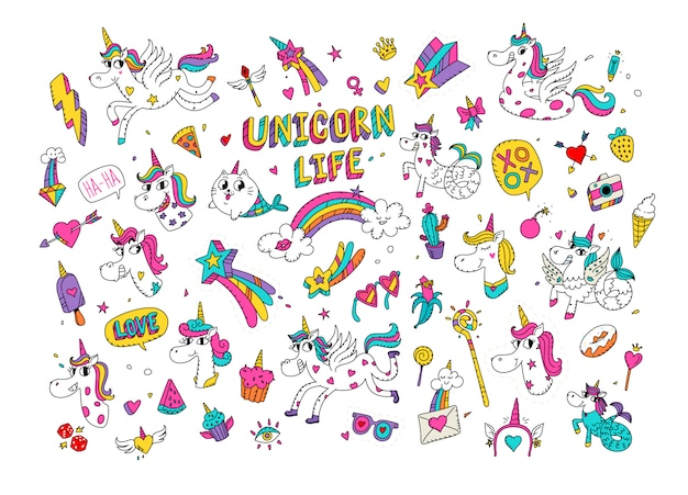 Ilustrações de um unicórnio mágico. mundo de cavalo dos desenhos animados com um chifre.