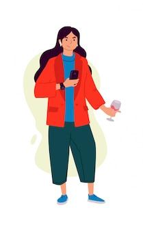 Ilustrações de uma menina com um copo de vinho e um telefone.