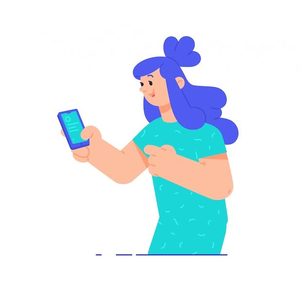 Ilustrações de uma menina com um telefone.