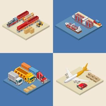 Ilustrações de vários transportes de mercadorias