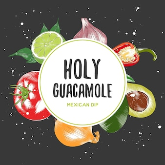 Ilustrações de vegetais e especiarias artesanais orgânicos cozinha mexicana moldura vista superior