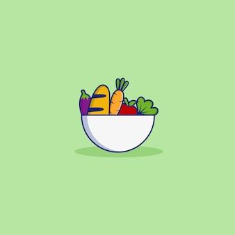 Ilustrações de vegetais em cores com tigela
