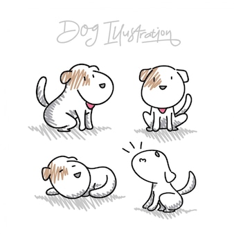 Ilustrações de vetor de cão de mão desenhada