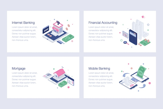 Ilustrações de vetor isométrica de banca on-line