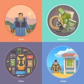 Ilustrações de web caminhadas plana.