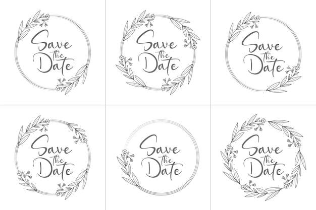Ilustrações decorativas e mínimas de emblemas de casamento desenhadas à mão