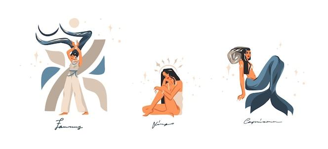 Ilustrações desenhadas à mão com a coleção de signos de terra contemporâneos astrológicos do zodíaco