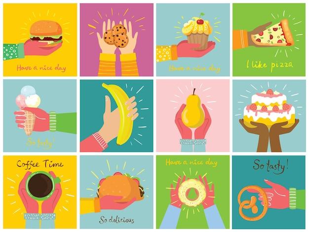 Ilustrações desenhadas à mão de bolos e sobremesas assadas, café e outros em estilo simples