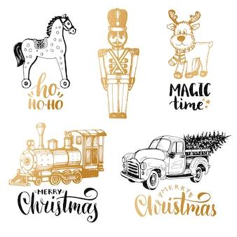 Ilustrações desenhadas à mão de brinquedos de natal e letras