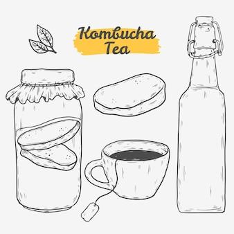 Ilustrações desenhadas à mão de chá de kombuchá