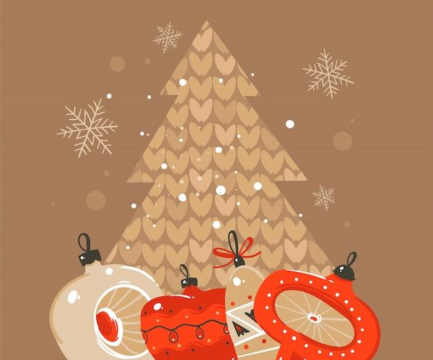 Ilustrações desenhadas à mão de coon de tempo de feliz natal e feliz ano novo saudando o modelo de cabeçalho com brinquedos de bugigangas de árvore de natal e um lugar para seu texto em fundo marrom