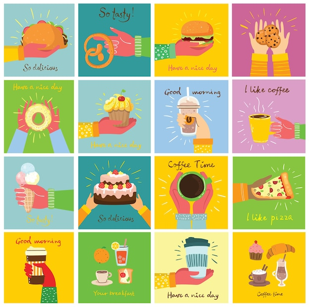 Ilustrações desenhadas à mão de mãos segurando pizza, sorvete, sobremesa, bolo e taco em estilo simples