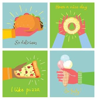 Ilustrações desenhadas à mão de mãos segurando pizza, sorvete, sobremesa e taco em estilo simples