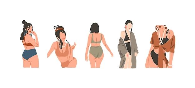 Ilustrações desenhadas à mão. ilustrações estéticas contemporâneas e estéticas.