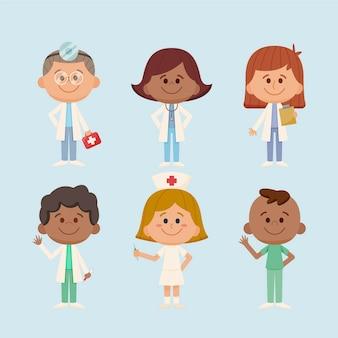 Ilustrações desenhadas à mão: médicos e enfermeiras