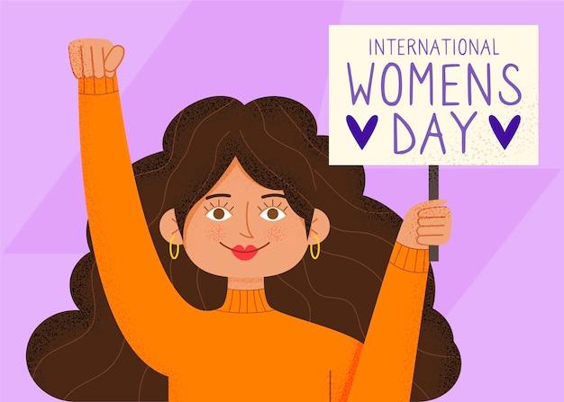 Ilustrações desenhadas à mão no dia internacional da mulher