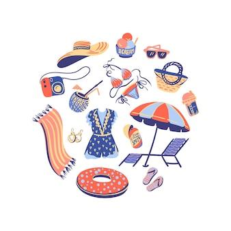 Ilustrações desenhadas à mão no verão. mão desenhado no verão, objeto da praia. fundo branco. composição do círculo.