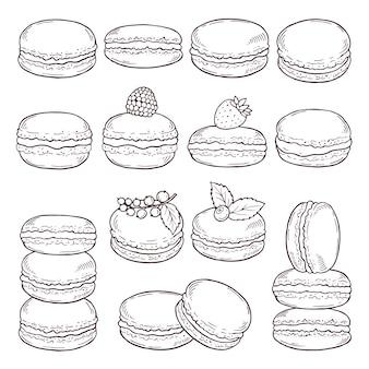 Ilustrações desenhadas mão da culinária de paris.