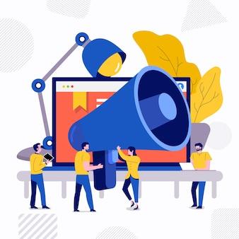 Ilustrações design plano conceito trabalho em equipe pequenas pessoas empresário trabalhando juntos