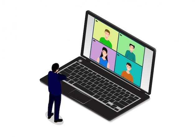 Ilustrações design plano conceito videoconferência.