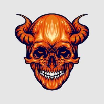 Ilustrações do chifre do crânio do diabo vermelho