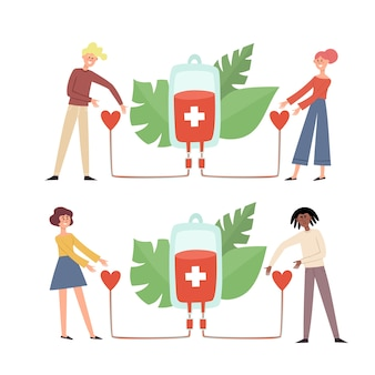 Ilustrações do conceito de doação de sangue com pessoas