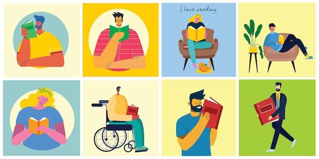 Ilustrações do conceito do dia mundial do livro, leitura dos livros e festival do livro em estilo simples