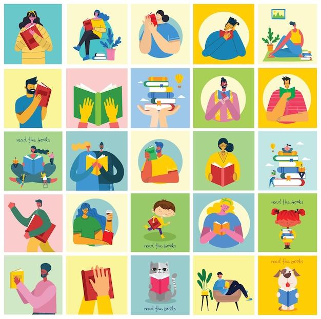 Ilustrações do conceito do dia mundial do livro, leitura dos livros e festival do livro