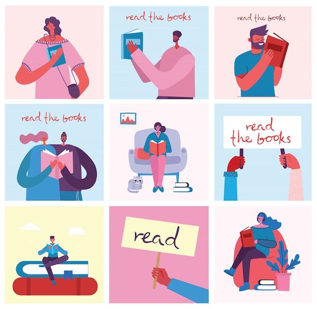 Ilustrações do conceito do dia mundial do livro, lendo os livros e festival do livro no estilo simples. as pessoas sentam, levantam e andam e leem um livro