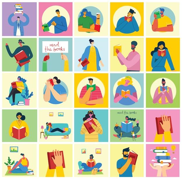 Ilustrações do conceito do dia mundial do livro, lendo os livros e o festival do livro em estilo simples. as pessoas se sentam, ficam de pé, andam e leem um livro em estilo plano