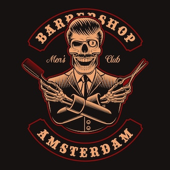 Ilustrações do crânio do barbeiro com tesoura e pente no fundo escuro. isso é perfeito para logotipos, estampas de camisa e muitos outros usos.